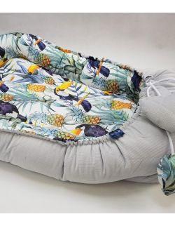 Kokon dwustronny Tukany velvet pikowany jasno szary caro