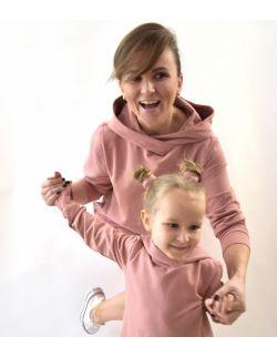 """Komplet mama i córka - przedłużone bluzy """"pudrowy róż"""""""