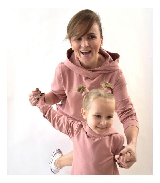 Komplet Mama I Córka Przedłużone Bluzy Pudrowy Róż Mamaville Pl