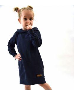 Przedłużona bluza z kapturem, sportowa sukienka dla dziewczynki, sprany jeans