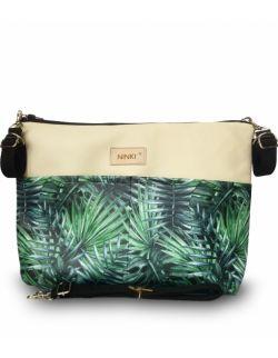 organizer do wózka ekoskóra NINKI® ( zielone liście palmowe beżowe tło )