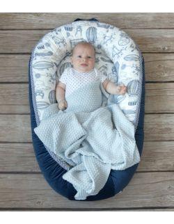 Starter niemowlęcy Aeroplane: kokon + pościel + rożek