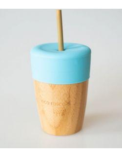ECORASCALS Kubek bambusowy o pojemności 240 ml z silikonową nakładką w kolorze niebieski