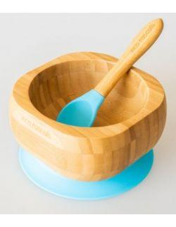 ECORASCALS Miseczka Bambusowa głęboka niebieska z przyssawką i łyżeczką