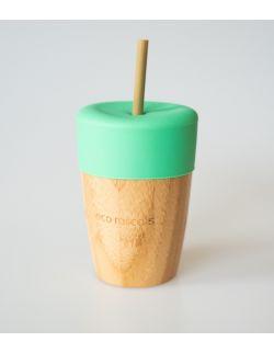 ECORASCALS Kubek bambusowy o pojemności 240 ml z silikonową nakładką w kolorze zielonym