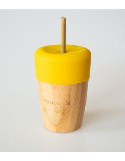 ECORASCALS Kubek bambusowy o pojemności 240 ml z silikonową nakładką w kolorze żółty